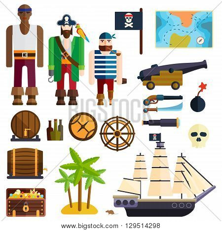 Pirate accessories symbols flat icons collection with wooden treasure chest and jolly roger flag abstract vector illustration. Pirate symbols anchor treasure set and pirate symbols parrot treasure map.