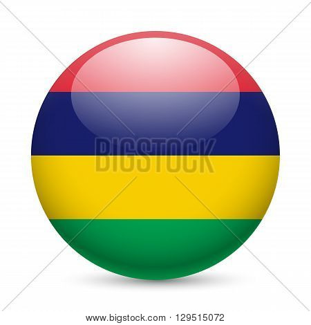 Flag of Mauritius as round glossy icon. Button with Mauritian flag