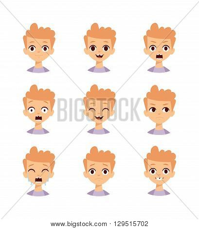 Boy emotions face cartoon facial expressions set. Natural, calm, resentful, boy emotions face ailing, thoughtful, jolly, crying, angry, funny, enamored, astonished, laughing boy emotions face.