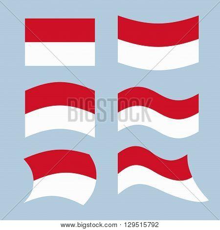 Monaco Flag. Set Of Flags Of Monaco Republic In Various Forms. Developing Monegasque Flag European S