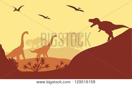 Beautiful scenery dinosaur of silhouette in hills