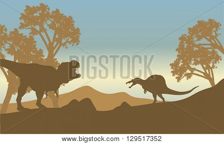 Silhouette of spinosaurus and T-Rex at the morning