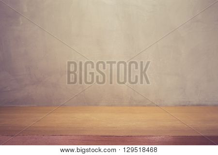 Grey Wall And Top Wooden Table Or Counter. For Product Display