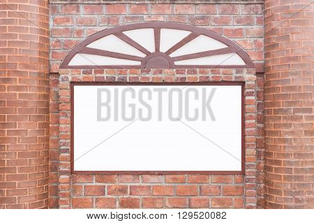 Abstract Square Red Brick Wall With White Empty Space For Design