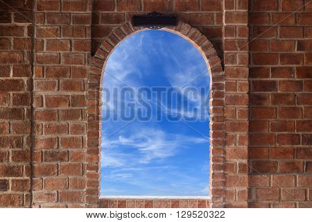 Abstract Square Red Brick Wall Texture With Windows Frame Can See Sky