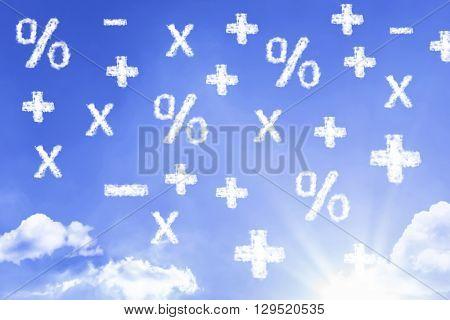 Maths Symbols cloud with a blue sky
