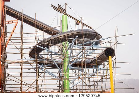 Construction Of Water Park With Structure Steel Scaffolding