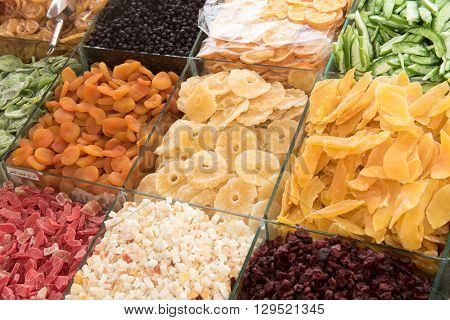 Collection of dried fruits at Deira. UAE Dubai