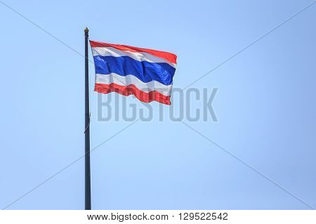 Thailand flag over sky background in Phuket