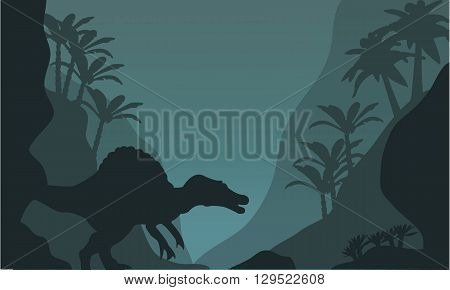 Single spinosaurus of silhouette at the night