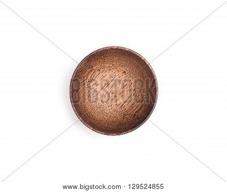 Empty Wooden Bowl Isolated On White Background