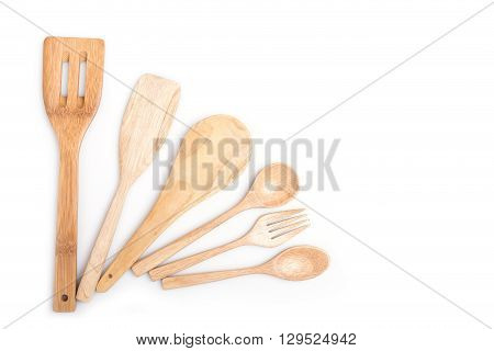 Close Up Wooden Spoon And Fork Isolated On White