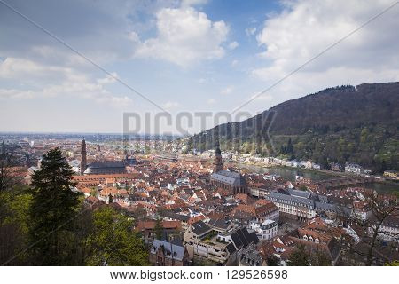 View to Heidelberg city from Heidelberg castle