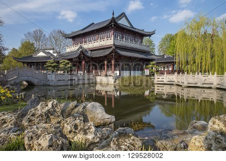 Tea house in chinese garden in Luisenpark Mannheim Germany