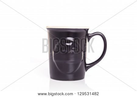 Close Up Black Ceramic Cup Isolated On White