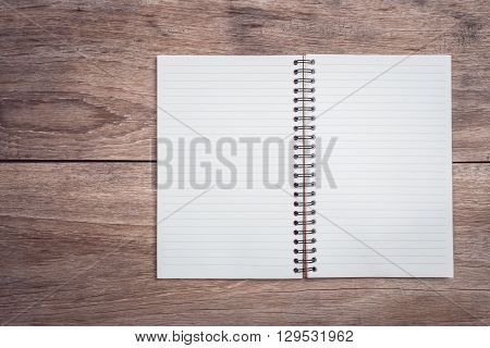 Notepad / Lined Paper On Wooden Table Top View