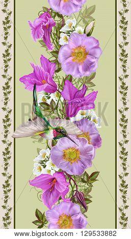 Vertical floral border. Pattern seamless. Flower garland of pink roses and crimson cyclamen. Little bird hummingbirds.