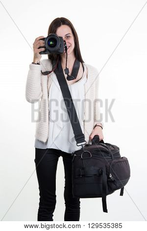lovely and happy Woman with Photographer's equipment