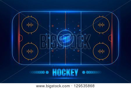 Ice Hockey stadium. Vector line illustration hockey arena with puck. Hockey background with glowing elements.