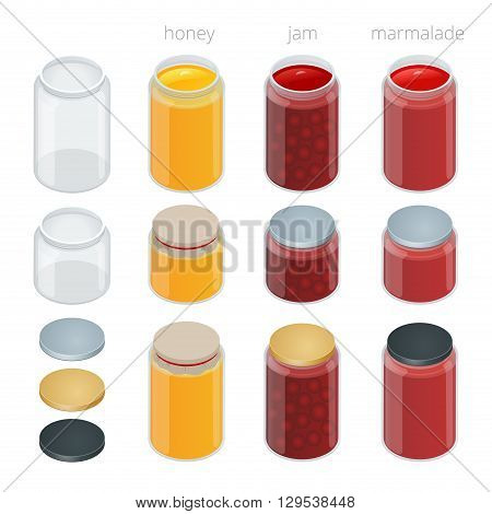 Glass jar with with jam, configure or honey. Vector 3d flat isometric illustration