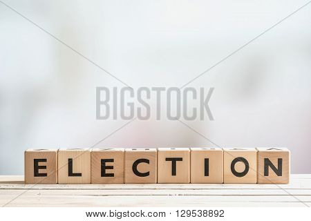 Election Sign Made Of Wooden Blocks