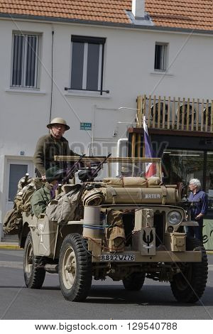 PUY-GUILLAUME FRANCE May 7 2016 : Collectors' association of military vehicles commemorates the ending of the Second World War in the village of Puy-Guillaume.