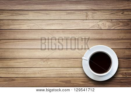 White Coffee Cup On Wooden Table Top View