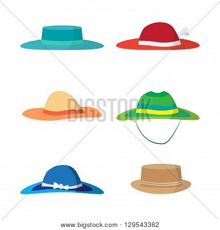 Set of different colored beach hats. Headgear to protect against the sun on the beach. Flat vector illustration isolated on white background