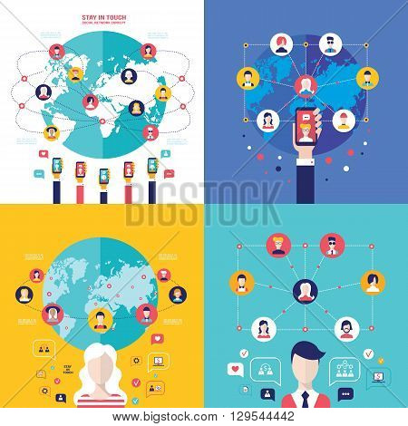 Social Network Technology Banner set User Communications on web concept Vector illustration