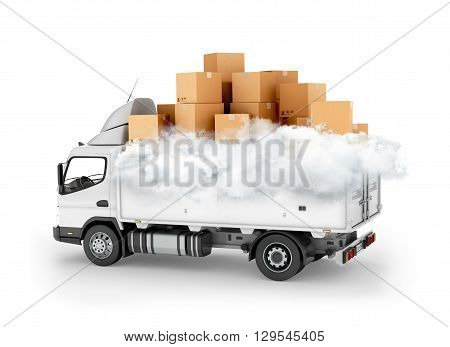 Fast delivery service cartons with clouds on the machine. 3d illustration