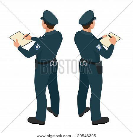 Policeman in uniform. Policeman icon. Policeman vector