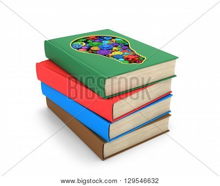 A set of book where one of the book is cut in the form of a light bulb inside which multicolored shesterni.Izolovanyy on a white background. 3D illustration