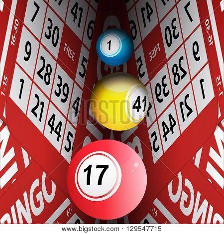 Bingo Balls Rolling between Bingo Cards Background
