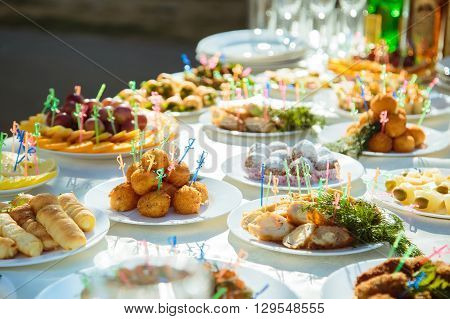 The Wedding Banquet. Buffet table in nature. Tableware. Snacks fruit drinks