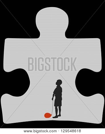 Autism cave. Silhouette of autistic child with a deflated red air balloon, standing in a cave shaped as a symbol for autism
