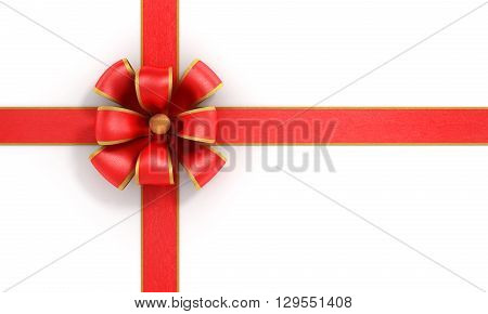 Shiny red satin ribbon on white background. 3d illustration
