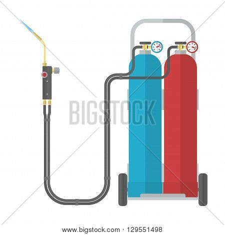 Oxy-fuel welding and cutting. Gas welding. Vector illustration