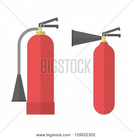 Fire Extinguisher icons. Extinguishers in flat style. Vector illustration