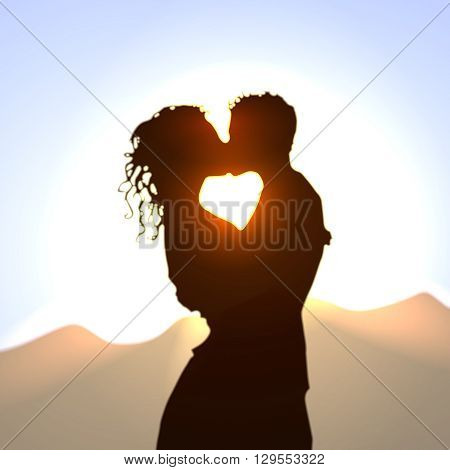 Couple in love. Kissing lovers silhouette against the backdrop of late afternoon sky. Realistic vector illustration.