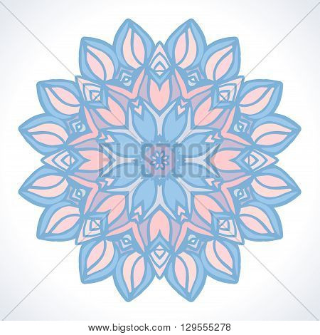 Mandala. Vector ornament  in trendy Pantone colors Rose Quartz and Serenity.