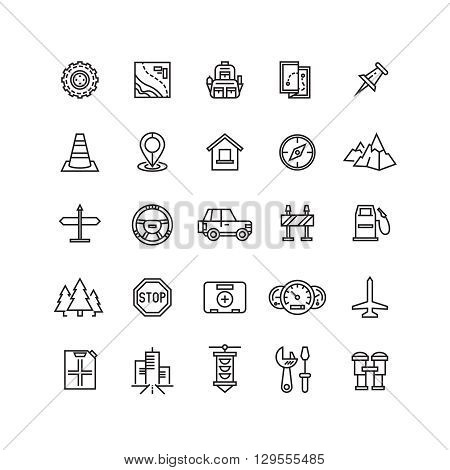 Vector road, auto line icons. Auto car icon, car road icon, traffic car vehicle icon illustration