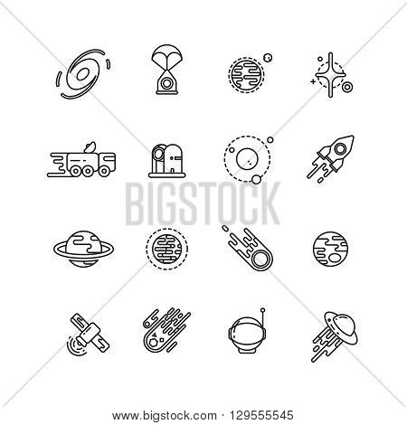 Cosmos, astronomy and astrology space line vector icons. Astronomy icon, space astronomy universe, astronomy galaxy illustration poster