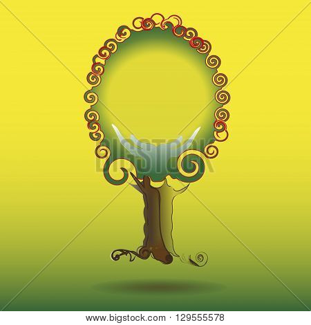 Drawing a strong tree with red foliage The illustration on a yellow-green background of a strong tree with red foliage and strong roots to the company's logo, as well as the decoration and design