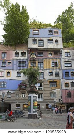 VIENNA AUSTRIA - JULY 12: Kunst Haus Museum in Wien on JULY 12 2015. Famous Organic Apartment Buildings by Architect Hundertwasser in Vienna Austria.
