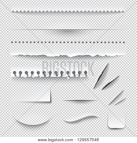 Semitransparent white paper checkered perforated ripped torn jagged cut edges texture samples set realistic shadows vector illustration