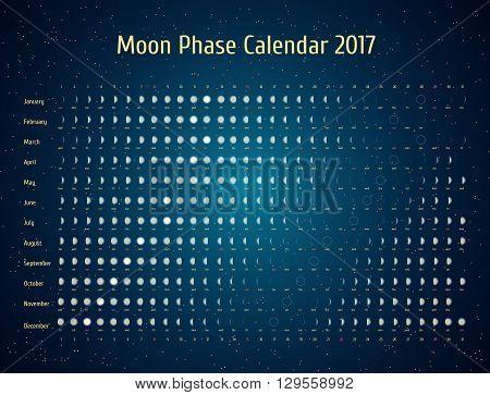 Vector astrological calendar for 2017. Moon phase calendar in the night starry sky. Creative lunar calendar ideas for your design