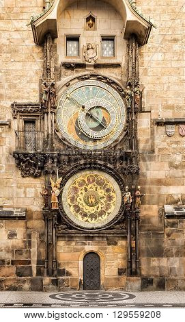 Astronomical Clock Orloj in the Old Square of Prague. Czech Republic. Vintage look.