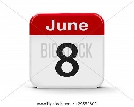 Calendar web button - The Eighth of June - World Oceans Day three-dimensional rendering 3D illustration