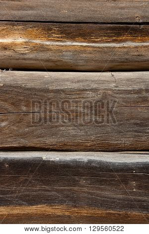 Country House Wall From Old Wooden Logs. Natural Wooden Background.
