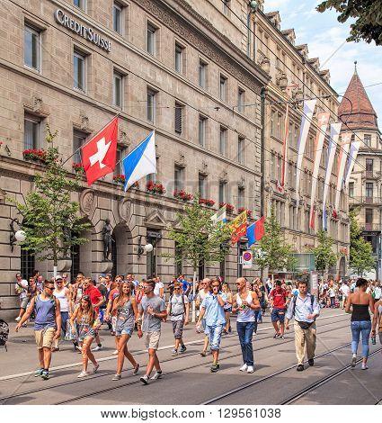 Zurich, Switzerland - 2 August, 2014: Bahnhofstrasse street on the day of the Street Parade. The Street Parade is the most attended technoparade in Europe, it takes place in Zurich Switzerland.